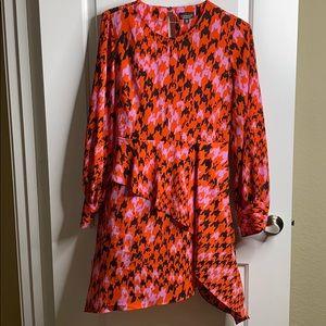 Topshop Houndstooth Asymmetrical Sheath Dress